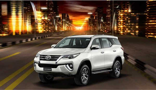 Toyota Fortuner, white colour, front angular look