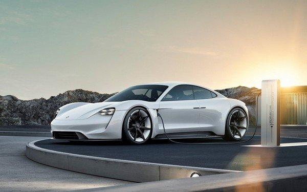 white Porsche Taycan angle view