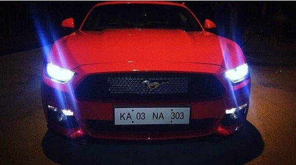 Karun Nair red Mustang