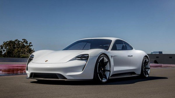 Porsche Taycan white color front look