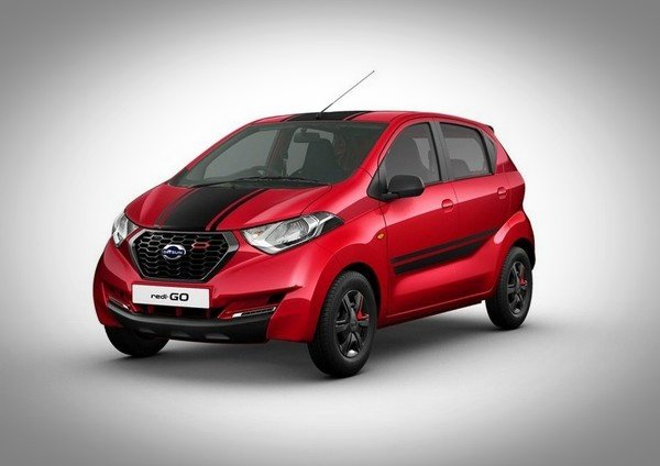 facelifted Datsun Redigo red colour