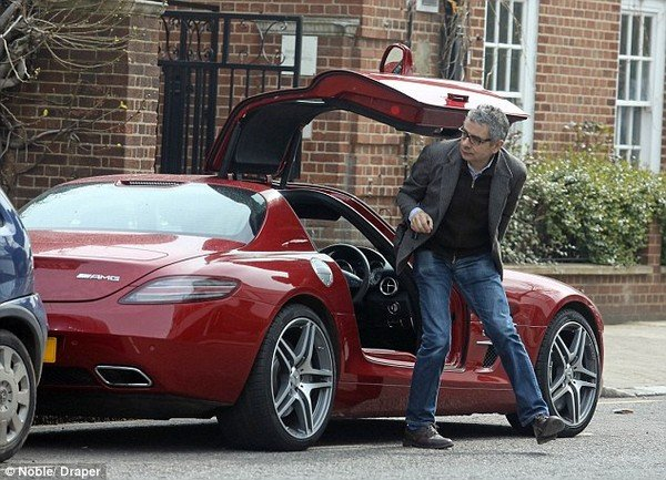 Rowan Atkinson  with his Mercedes Benz SLS AMG