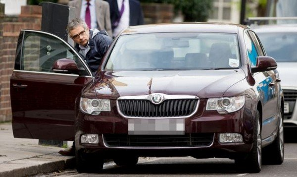 Rowan Atkinson with his Skoda Superb