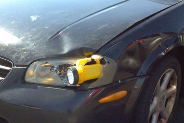 flashlight on a car front