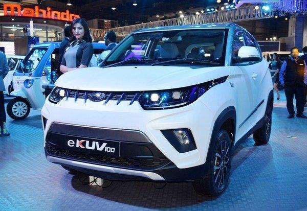 Mahindra eKUV100 white color front look