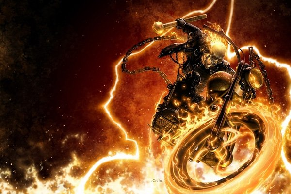 Ghost Rider is on his flaming hell cycle