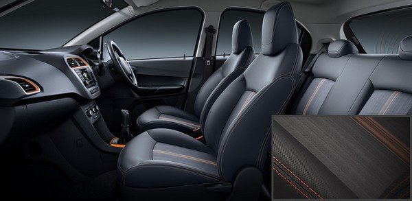 The Tiago NRG interior side look seat pattern close-up