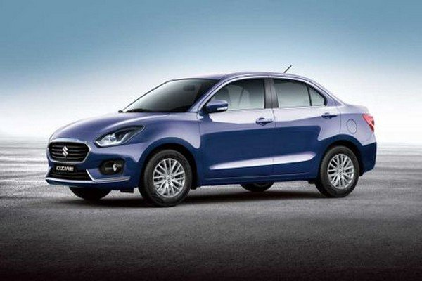 The Dzire blue color side look