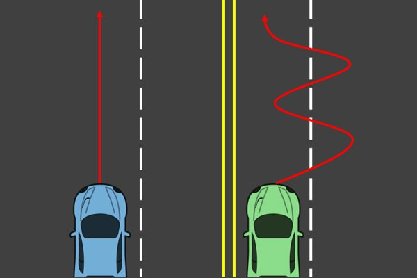 a car is driving straight, and the other isn't