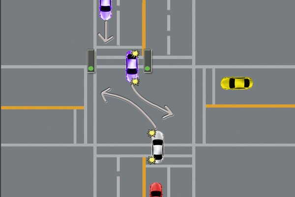5 cars in an intersection