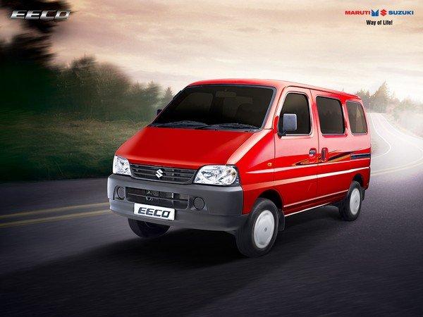 Maruti Suzuki Eeco red color front look on road