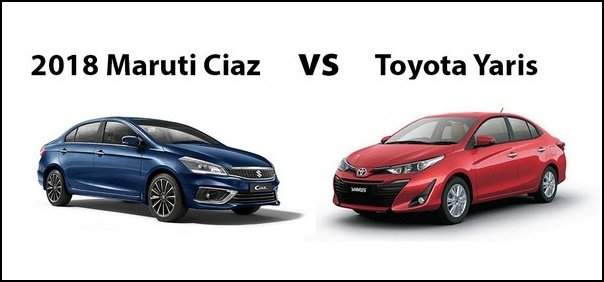 Red Toyota Yaris and blue Maruti Ciaz white background