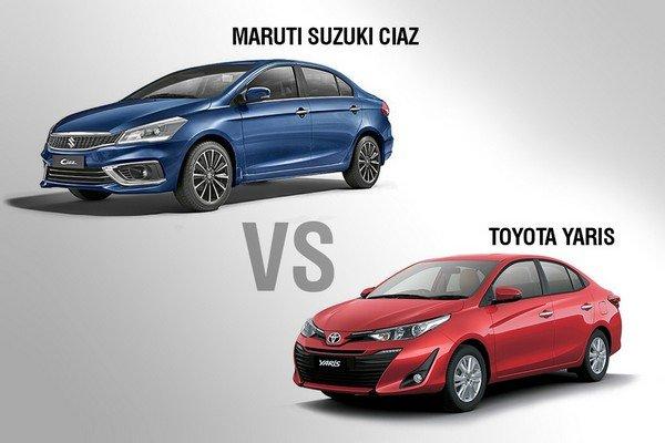 Red Toyota Yaris and blue Maruti Ciaz