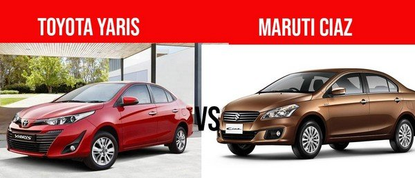 Red Toyota Yaris and golden Maruti Ciaz