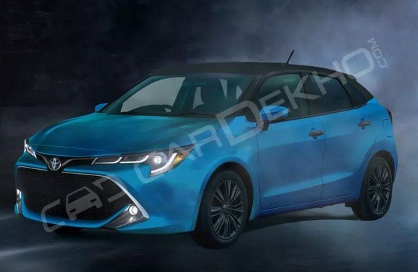 Toyota Baleno-based hatchback 2019 blue angular look