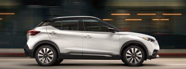 Nissan Kicks 2019 Pearl White and Onyx Black side view