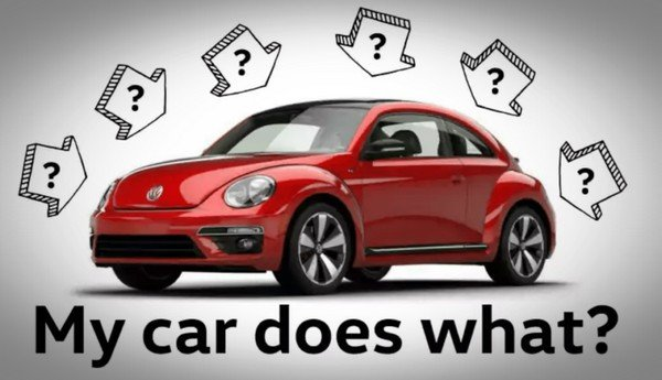 a red car among many question marks
