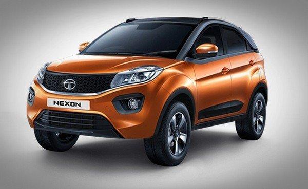 Tata Nexon orange front right