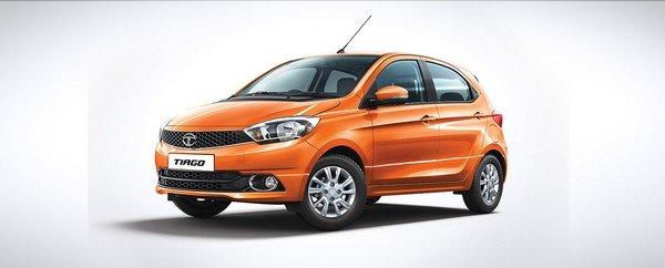 Tata Tiago three quater orange color