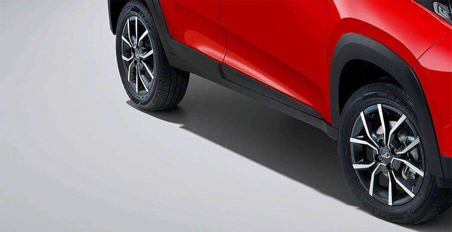 Mahindra KUV100 Exterior  red color wheels