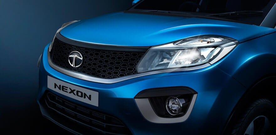 Tata Nexon India 2018 Exterior Front bumper blue color black background