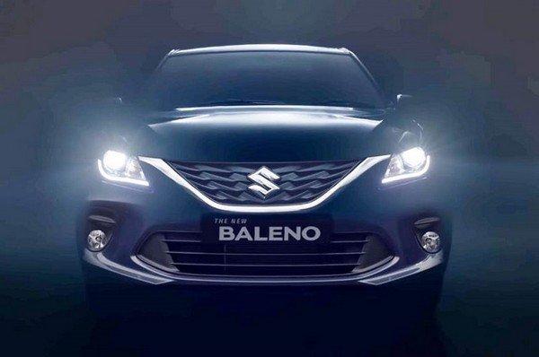 Maruti Suzuki Baleno 2019 front direct look with headlights on