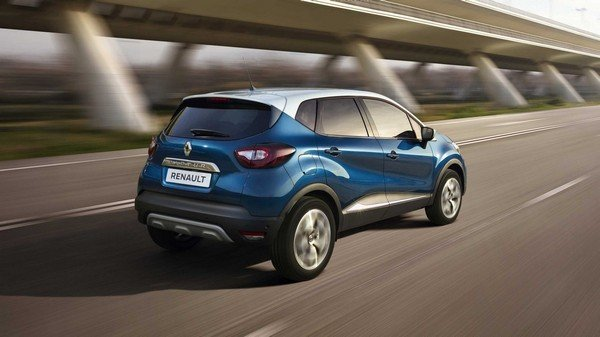 Renault Captur 2017 exterior rear view dual tone blue and white colour on road