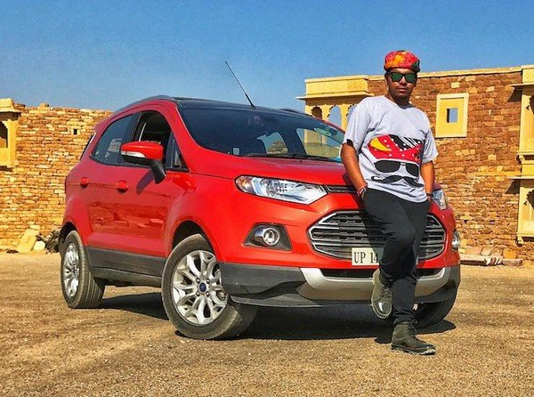 Siddhant Raghav and his Ford EcoSport red angular left