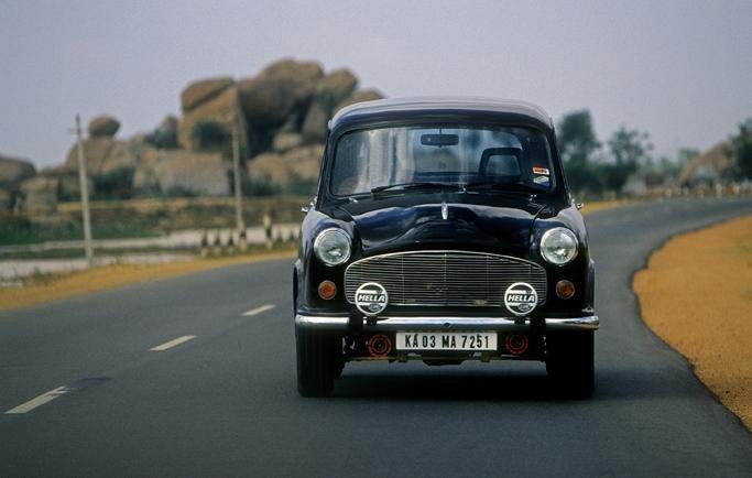 black Hindustan Ambassador parking on road