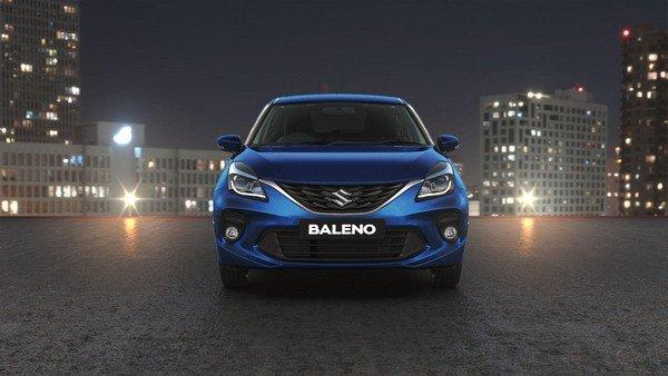 2019 maruti baleno front view blue colour