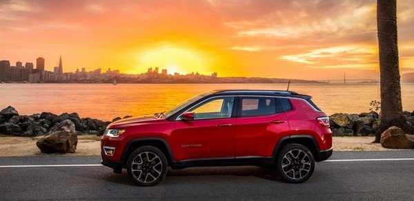Jeep Compass 2018, red, side profile