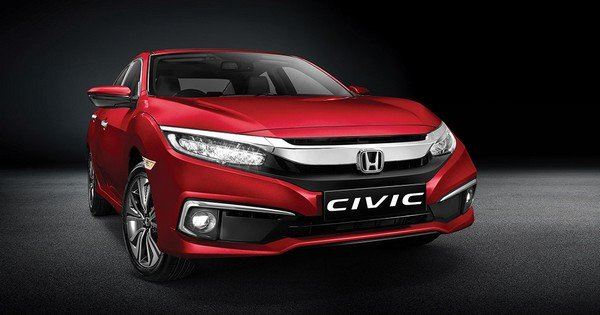 2019 honda civic, red colour, front view