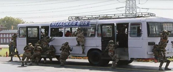 hijacked bus with CISF officials