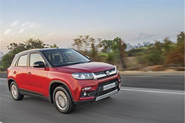 Maruti Vitara Brezza red side profile