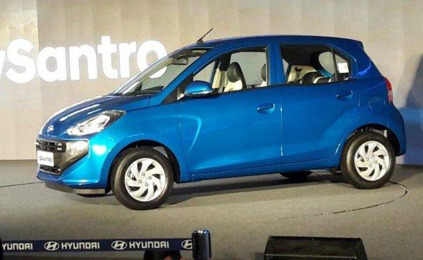 2018 Hyundai Santro CNG blue side profile angle