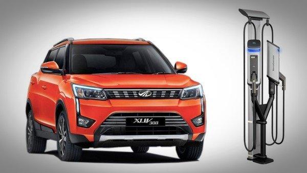 2019 mahindra xuv300 EV orange front angle