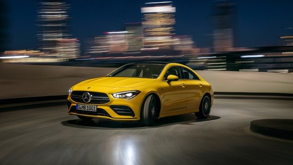 mercedes amg cla 35 yellow front view