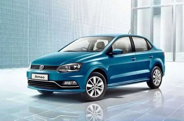 2019 volkswagen ameo corporate edition blue front angle