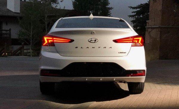 2019 hyundai elantra india white rear angle