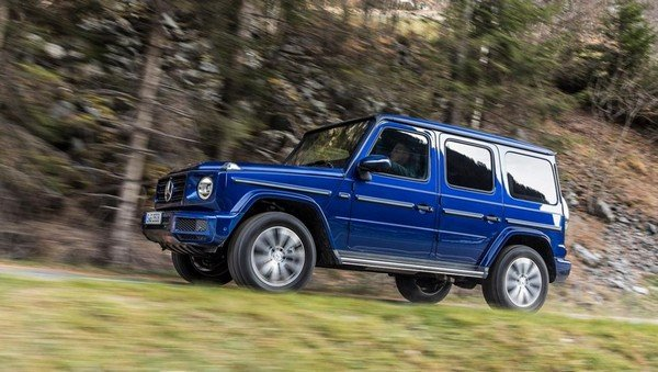mercedes benz g350d blue side profile angle