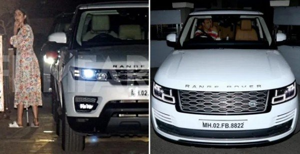 katrina kaif with range rover se vouge suv white front