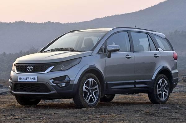 mid size SUV Tata Hexa side angle profile