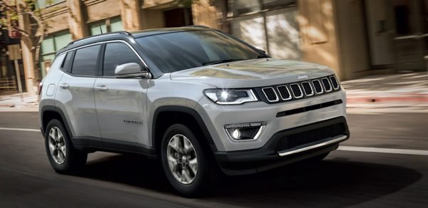 mid size SUV Jeep Compass front angle of the car