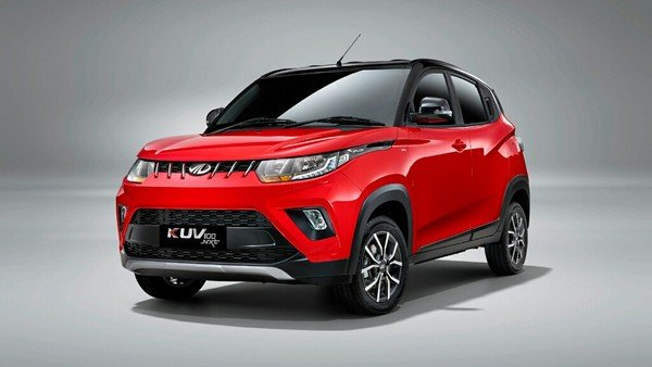 mahindra kuv100 red black front profile