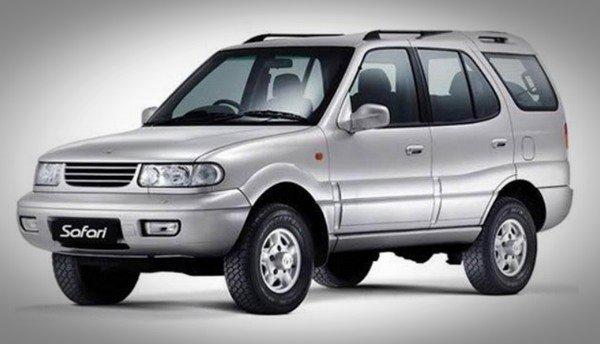 tata safari petrol silver front angle