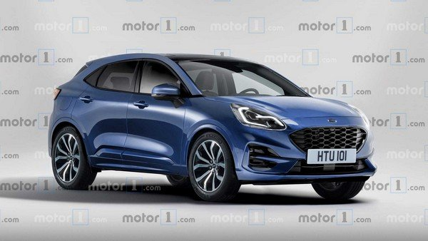 2019 ford puma render blue front three quarters right side