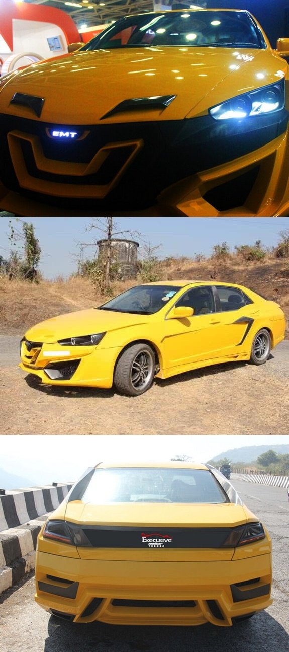 honda accord nemesis yellow front side and rear