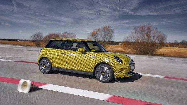 mini cooper ev camouflage side profile
