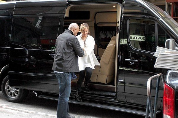 Jay-Z helping Beyonce get out of Mercedes-Benz Sprinter Limousine