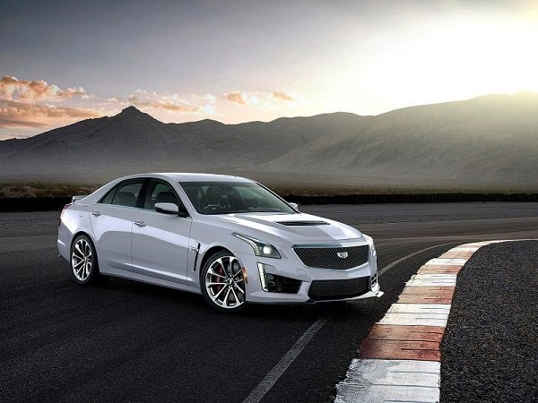 2019 cadillac cts v white parked front quarter